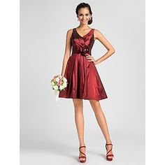 A-line+V-neck+Knee-length+Taffeta+Bridesmaid+Dress+With+Flower+–+USD+$+89.99