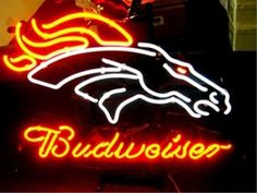 """NFL BRONCOS BUDWEISER BEER BAR CLUB NEON LIGHT SIGN (16"""" X 14"""") - Free Shipping Worldwide  ~ Voltage: 100-240v UL Transformers from NeonPro - Workable in all countries - US, UK, Canada, Japan, Australia, European Countries, & Others.  ~ Payment: Paypal / Credit Cards / Western Union.  ~ Delivery Time: 9-15 days to USA/Canada/Japan/Australia/Asian Countries; 12-18 days to European Countries/South American Countries; via a USPS/Hongkongpost/Canadapost tracking number, directly shipped from…"""