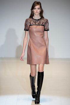 Gucci Fall 2014 Mauve Leather and Crystal Embellished Dress
