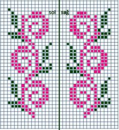 Ribbon Flowers Embroidery Ideas: Learn Stitching for Beginners - frieda Simple Cross Stitch, Cross Stitch Borders, Cross Stitch Flowers, Cross Stitch Charts, Cross Stitching, Cross Stitch Embroidery, Cross Stitch Patterns, Fair Isle Knitting Patterns, Bead Loom Patterns