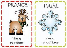Christmas action cards or tags!  Each person draws a card and has to act out the requested action before opening their gift.  Could be super cute for the name tags on family gifts too.  Same principal but, already delegated task and easy to personalize on computer. Preschool Christmas, Preschool Activities, Preschool Winter, Motor Activities, Movement Preschool, Preschool Boards, Calendar Activities, Movement Activities, Winter Craft