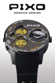 PIXO, PX-5, Time Panel, Dual time display, strong and heavy duty design, multi-eyes design, multi-funciton including: Stopwatch, Alarm and hourly chime. Please see the details at : pixowatch.com