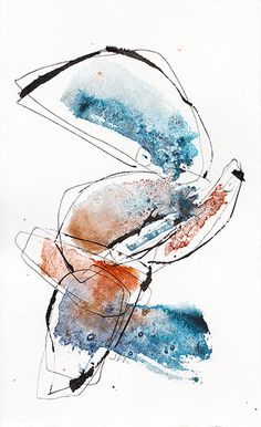 Déambuler - Josée Prudhomme encre et aquarelle - watercolor and ink - abstract calligraphy