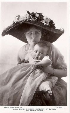 Margaret of Connaught (1882-1920), Crown Princess of Sweden and son Prince Bertil.  Princess Margaret was a granddaughter of Queen Victoria and a princess of Great Britain.  She married for love Crown Prince Gustaf Adolph of Sweden, with whom she had five children.  Worn out by childbearing, Princess Margaret died while pregnant with her sixth child.  King Gustaf VI Adolf did not marry again for 30 years.