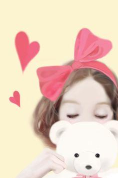 l love my teddy Anime Korea, Korean Anime, Korean Art, Cute Girl Wallpaper, Hello Kitty Wallpaper, Korean Illustration, Cute Illustration, Girl Cartoon, Cute Cartoon