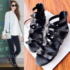 2014 star style GIRLS GENERATION sandals elegant lines bow flat sandals 02b