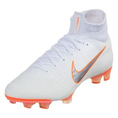 b1bc20d0a Nike Mercurial Superfly VI Elite FG Soccer Cleat - White/Chrome/Total Orange