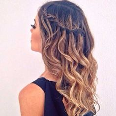 Head Turning Waterfall Braided Long Curly Hairstyles 2019 for An Inspiring Look - Hair Style Curly Hair Styles, Long Curly Hair, Natural Hair Styles, Frizzy Hair, Tousled Hair, Wavy Hair With Braid, Girl Hairstyles, Wedding Hairstyles, Party Hairstyles