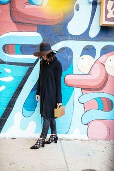 sweater dress + leather pants (via chicityfashion.com)