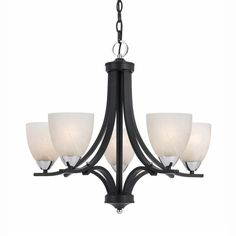 Lumenno Transitional 5-light Black Chandelier with Chrome Accents (Glass)