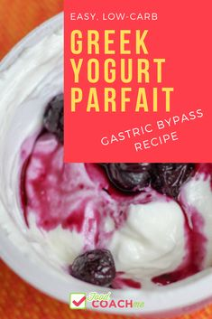 You won't believe how simple this Greek Yogurt Parfait is to make and it's lower in carbs than pre-made yogurts! Great for a breakfast or sweet treat after Gastric Sleeve surgery! Greek Yogurt Parfait, Low Carb Greek Yogurt, Greek Yogurt Breakfast, Sweet Breakfast, Pureed Food Recipes, Yogurt Recipes, Dessert Recipes, Dip Recipes, Breakfast Recipes