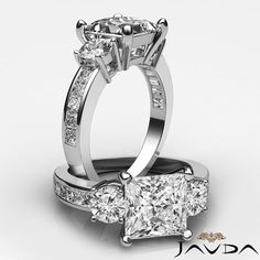 Princess Cut Three Stone Diamond Engagement Ring GIA I VS2 14k White Gold 2 ct in Jewelry & Watches, Engagement & Wedding, Engagement Rings | eBay