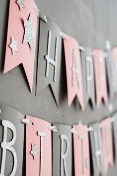 Items similar to Pink Gray Birthday Banner, Birthday Decoration, Party Decor, Personalized Girl Birthday Banner on Etsy - Top-Trends Diy 1st Birthday Decorations, 1st Birthday Banners, Happy 21st Birthday, 1st Birthday Girls, Decoration Party, Boyfriend Crafts, Valentine's Day Diy, Valentines Diy, Pink Grey