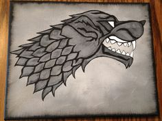 "House Stark sigil - ""Winter is Coming"" Acrylic paint on 8x10 canvas.  Game of Thrones"