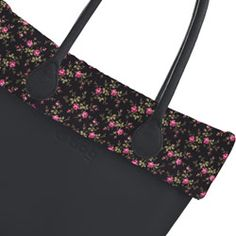 Pink Flowers on Black Quilted Trim - O Bag Accessory