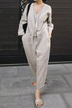 Spring Linen Jumpsuit Women Long Sleeve Solid Color Korean Fashion Sashes Causal Loose Rompers Autumn Playsuits Minimalist 2021 Casual Dress Outfits, Fashion Outfits, Urban Looks, Ankle Length Pants, One Piece Swimwear, Cotton Style, Korean Fashion, Plus Size, Clothes