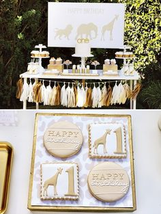 Throw a golden safari party for your baby's first birthday. Golden Birthday, Boy First Birthday, First Birthday Parties, First Birthdays, Birthday Ideas, Giraffe Birthday Parties, Birthday Favors Girls, Birthday Cake, Safari Party