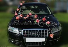Decoration voiture Mariage Corail Roses