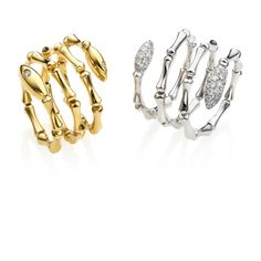 CHIMENTO Bamboo Navette white and yellow gold rings with diamonds.