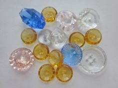 Depression Glass Buttons. Sixteen 1930'sTransparent Clear, Blue, Pink and Amber Glass Buttons. OneWoman Repurposed B311 by OneWomanRepurposed on Etsy