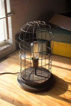 Wire Cage Desk Lamp with Aged Brass Finish