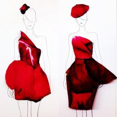 You know fashion designers usually sketch their dresses with colored pencils or watercolor. 22-year-old Grace Ciao has an extraordinary way to design her c