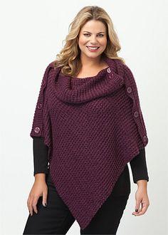 Knitwear | Plus Size Knitwear | Plus Size Knit - JOCELYN PONCHO - TS14