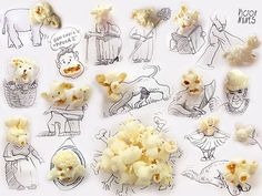 Popcorn turned into faces :)