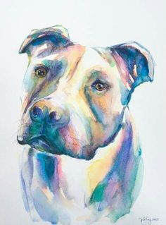 Pitbull watercolor painting watercolor by EbbAndFlowWatercolor Pitbull Tattoo, Pitbull Drawing, Watercolor Animals, Watercolor Paintings, Watercolor Tattoo, Pit Bulls, Arte Pop, Animal Paintings, Dog Art