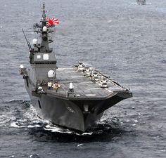 JMSDF DDH Hyuga class Hyuga helicopter Destroyer [護衛艦 ひゅうが]海上自衛隊の「ひゅうが型ヘリコプター搭載護衛艦」の1番艦。排水量/基準 13,950トン 満載 19,000トン 全長/197m 全幅/33m 吃水/7m 機関/石川島播磨-GE LM2500 × 4基 2軸推進 機関出力/100,000PS 最大速/30ノット 乗員/約340~360名 兵装/Mk15ファランクスCIWS × 2基 12.7ミリ単装機関銃 × 7丁 HOS-303 3連装短魚雷発射管 × 2基 Mk41VLS 16セル 電子装置/OYQ-10 情報処理装置 FCS-3改 対空捜索レーダー OPS-20C 対水上レーダー QQS-21 ソナー FCS-3改 NOLR-3C 電子戦装置 Mk 36 SRBOC チャフ発射機 × 4基 搭載機/ヘリコプター × 3~4機 (最大)ヘリコプター × 11機