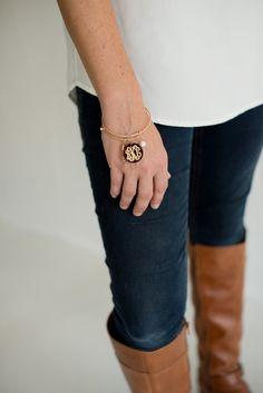 acbcirg.jpg #monogram #gold #bracelet #pearl #tassel #initials