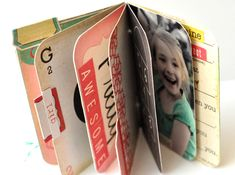 way to upcycle old board books, or to use the ones you find at the dollar store
