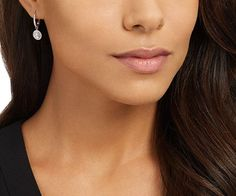 LOVE. Attract Light Pierced Earrings, White, Rhodium plating from #Swarovski