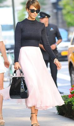 Love the feminine skirt combined with a chunky sweater.