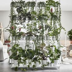 Three degrees of green - make a green wall with ikea's elvarli shelving system