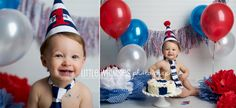 Red White & Blue Cake Smash! #CakeSmash #RedWhiteAndBlue #Patriotic #Cake #Messy #Balloons #Red #White #Blue #FirstBirthday #NYCPhotographer #WestchesterPhotographer #LittleWhimsiesPhotography Little Whimsies Photography