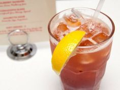 """Antebellum"" with Bourbon, Blood Orange Tea, Lemon and Mint."