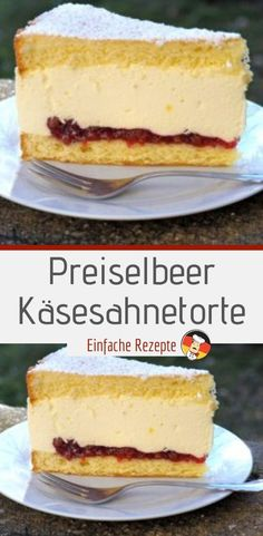 Cranberry cheesecake-Preiselbeer-Käsesahnetorte Ingredients for the biscuit: 4 eggs 100 g flour 150 g sugar 50 g cornstarch 1 msp. Baking powder for the filling: - Easy Cheesecake Recipes, Easy Smoothie Recipes, Easy Cookie Recipes, Cupcake Recipes, Snack Recipes, Cranberry Cheesecake, Cake Mix Cookies, Chocolate Chip Recipes, Coconut Recipes