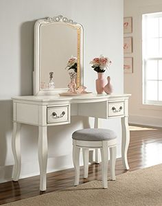 Hillsdale Kids and Teens 20540NDVC Kensington Writing Desk with Vanity Mirror and Stool, Antique White