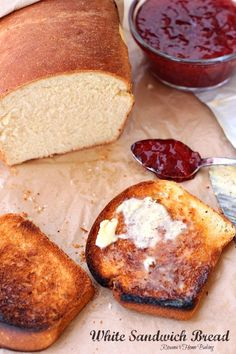 White sandwich bread from Roxanashomebaking.com Soft and fluffy, with a yellowish crumb and a chewy crust, this bread it perfect for Pb or any deli sandwiches and even for making French toast.