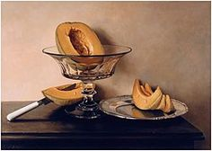Mauro David, Crystal dish with melons (Fruttiera di cristallo con meloni), Oil painting on wood panel, 1999