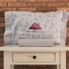Juego de sábanas de 200 hilos Basic Diseño Flores celestes