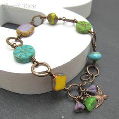 Czech bead bracelet  Vintaj brass bracelet bohemian by BeadyDaze, £16.00