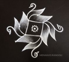 Easy And Simple Swan Rangoli Design Rangoli Designs Peacock, Simple Rangoli Border Designs, Rangoli Designs Latest, Rangoli Patterns, Free Hand Rangoli Design, Small Rangoli Design, Rangoli Designs Diwali, Rangoli Designs With Dots, Beautiful Rangoli Designs