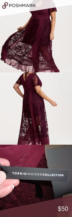 Chiffon & Lace Maxi Dress NWT Torrid, Size 16, Item #10799886 Torrid Insider Chiffon & Lace Maxi Dress. Belle of the ball potential is realized with this maxi dress. Swathed in a gorgeous merlot red crinkle chiffon, our designers carefully detailed the sweeping design with lace inset panels for a mix-and-match look. Lace flutter sleeves maintain a romantic air, with a tie back that gives you the chance to flash some back. Mini slip underlay provides coverage. This dress is stunning! torrid…