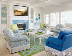 blue and green family room | Elizabeth Schmidt Interior Design