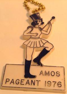 Vintage  Promo Keychain  PAGEANT 1976 AMOS QC Ancien Porte-Clés 1976 AMOS QUEBEC