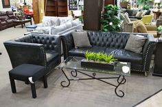 Modern Aico Black Leather Tufted Sofa and Chair - Colleen's Classic Consignment, Las Vegas, NV - https://cccfurnishings.com