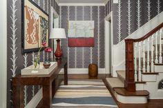 Foyer - Entry - Stairwell - Custom Runner - Burlwood Console - Oxblood Lamp - Custom Stair Runner - Papyrus Grasscloth Wallcovering - Providence - Boston - Asian