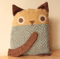 Cat Pillow  Medium Blue Tweed body Mustard Nubby by birdenvy, $60.00
